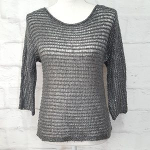 Ann  Taylor Sequined Grey Sweater Sz XS